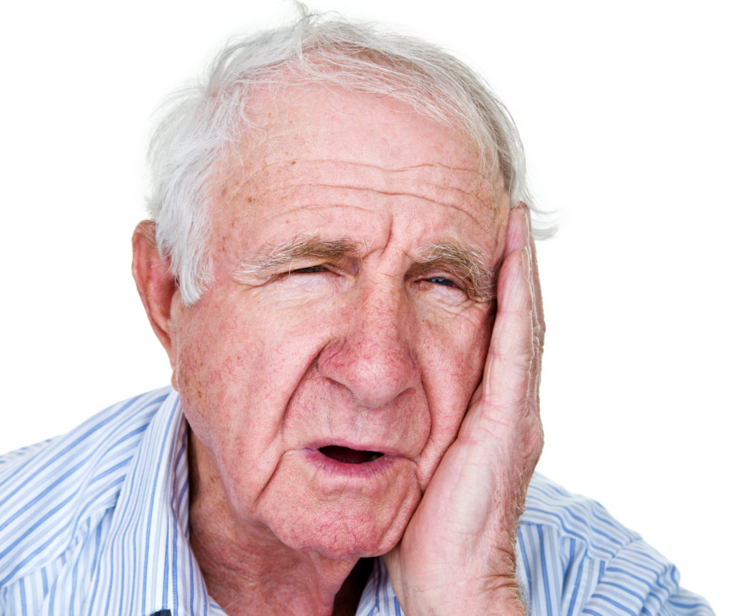 elderly man with a toothache